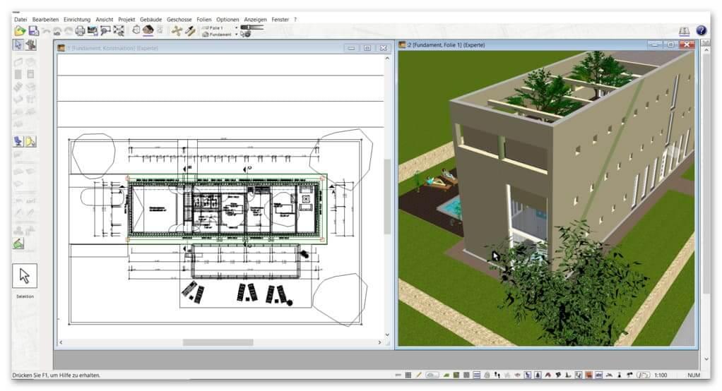 2D-3D-Ansicht-im-Zeichenprogramm-für-Grundrisse