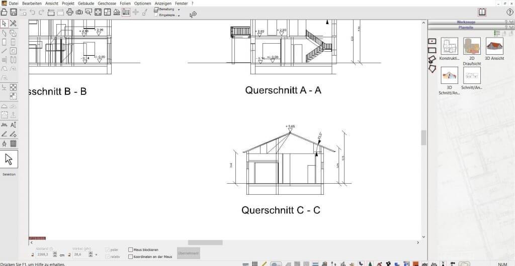 2D Schnitte vom Grundriss vom Holzhaus
