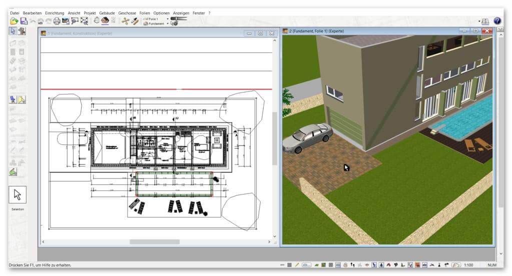 3D-2D-Ansicht-im-Architekturprogramm