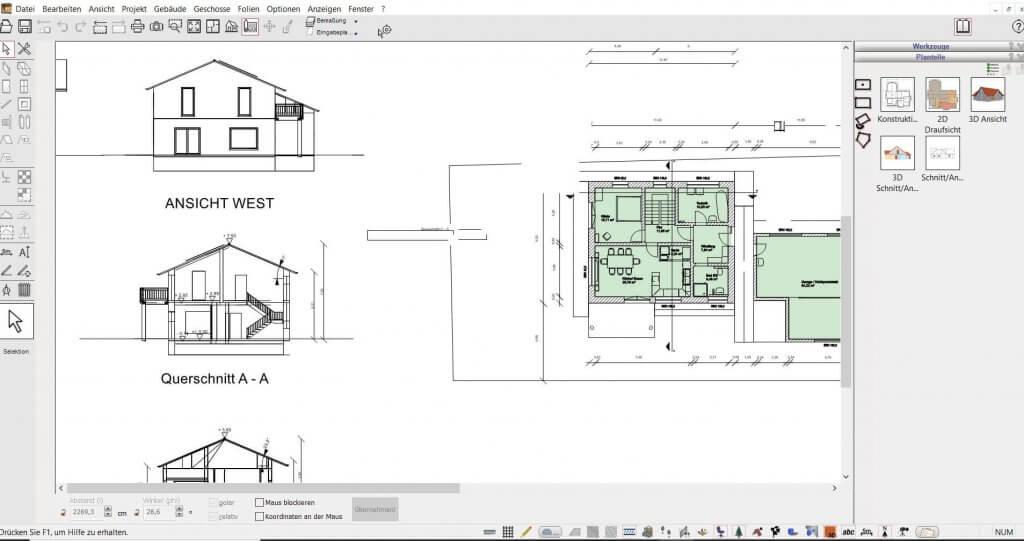 2D Schnitte für den Bauantrag vom Gartenhaus