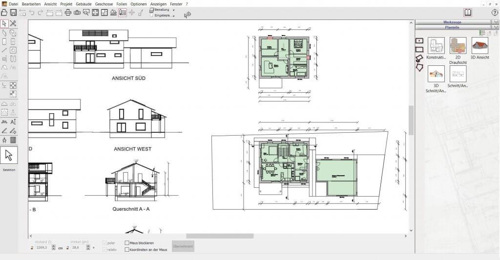 Hausplanungsprogramm für 2D Schnitte