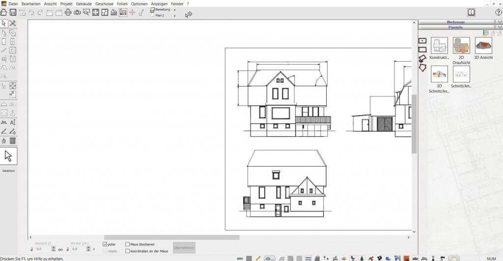 2D Schnitte für den Bauantrag mit der Gartenplaner Software
