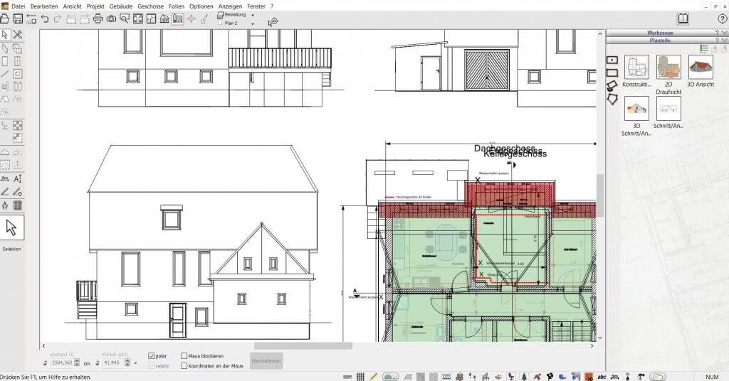 2D Schnitte vom Blockhaus planen