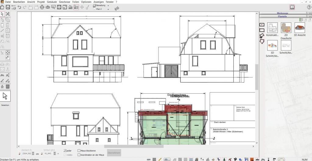 2D Schnitte vom Dach erstellen