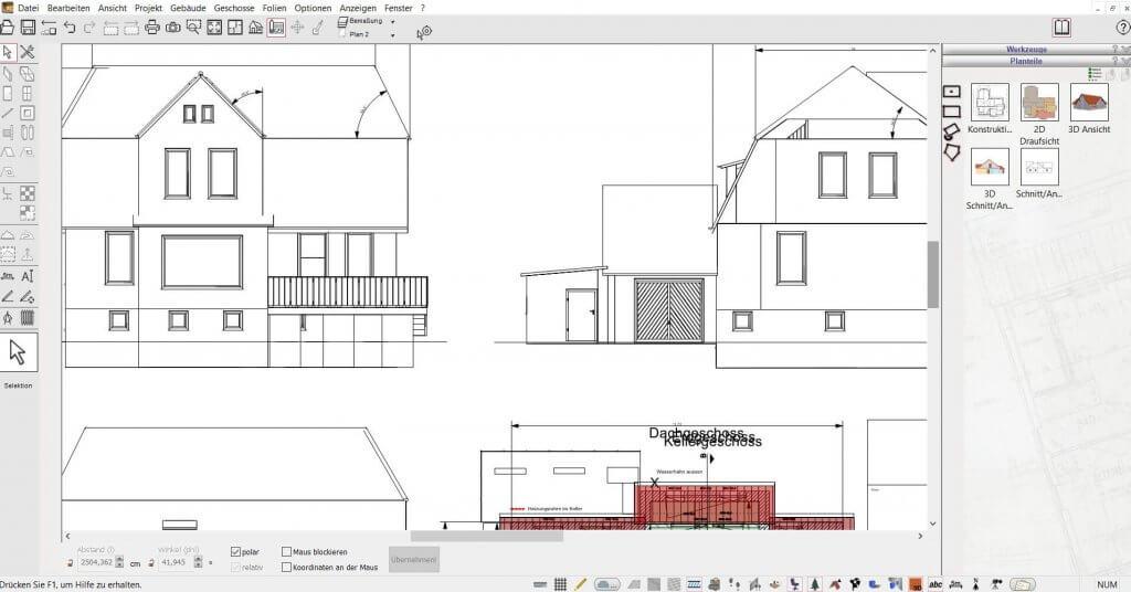 2D Schnitte von der Garage planen