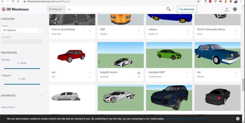 Millionen 3D Objekte für die Garagenplanung