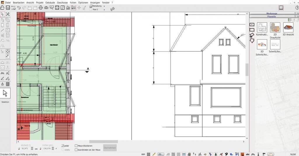 2D Schnitte vom Dachstuhl erstellen