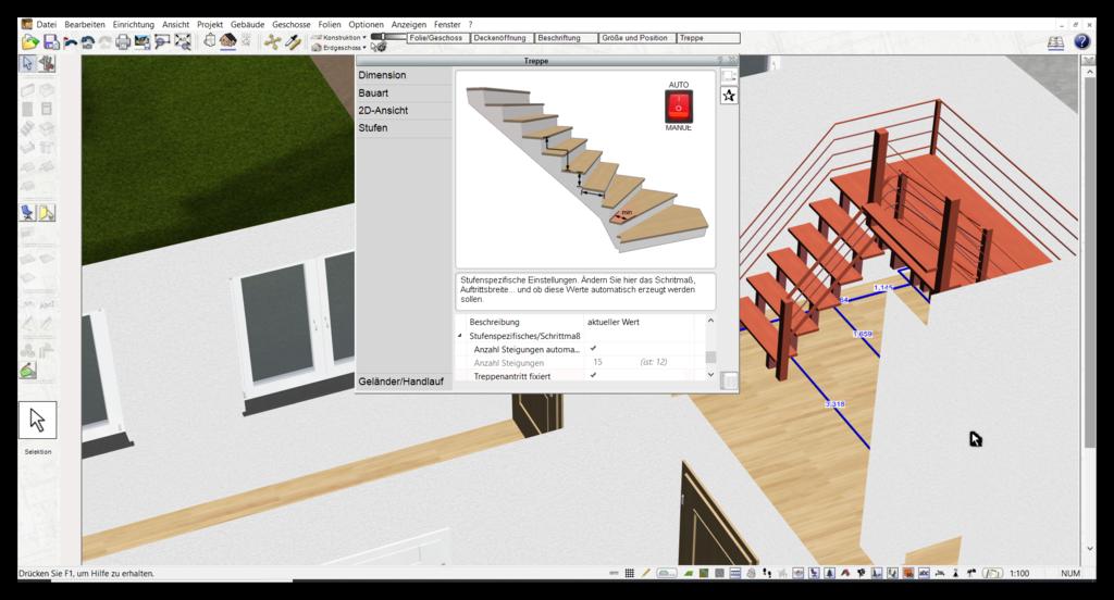Treppe zeichnen in der Badplaner Software
