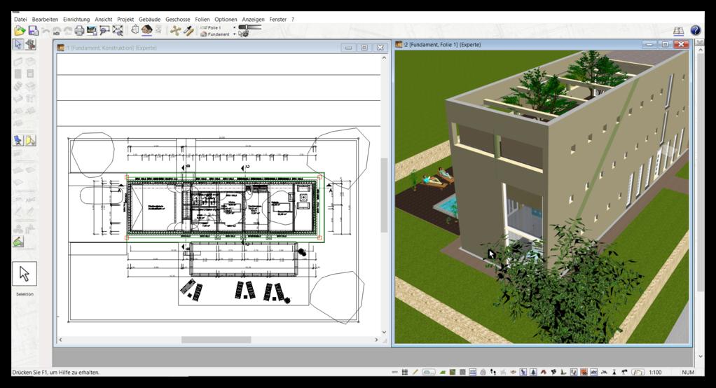 2D & 3D Ansicht im Zeichenprogramm für Grundrisse