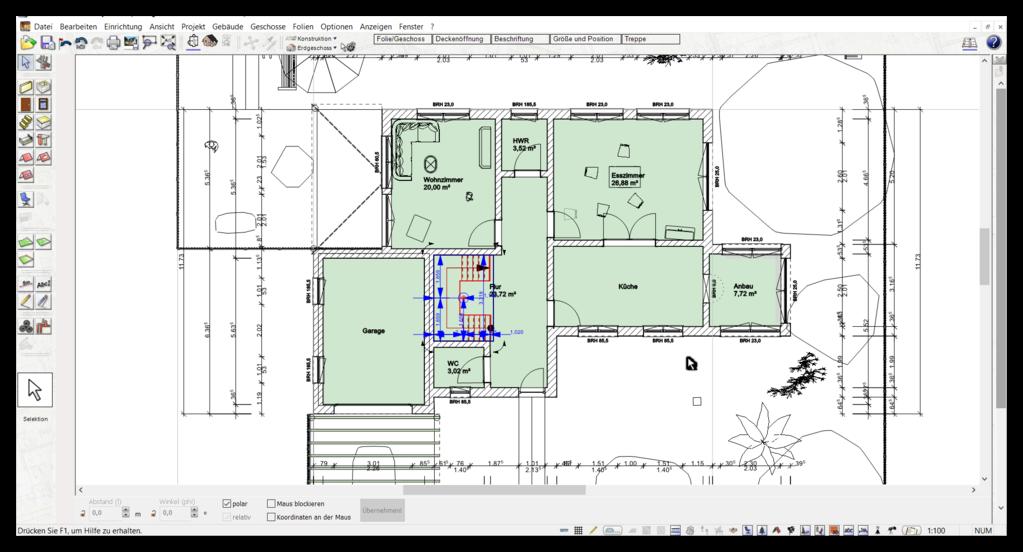 Automatische Außenmaße im gezeichneten Grundriss