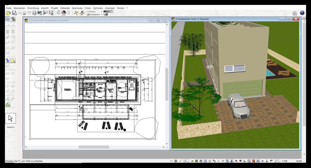 Holzhaus Grundriss in 3D & 2D planen