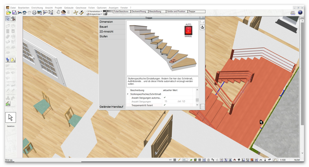 Treppe zeichnen bei der Planung vom Hausumbau