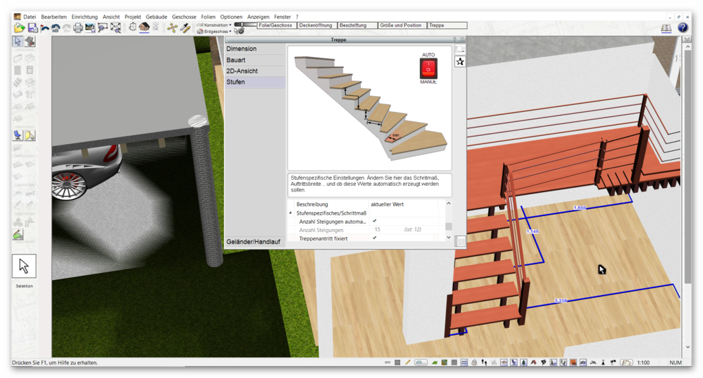 Treppe zeichnen mit der Alternative für Architekt 3D