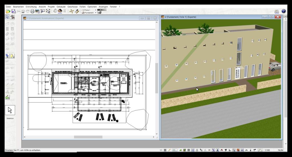 Balkon in 3D & 2D parallel planen