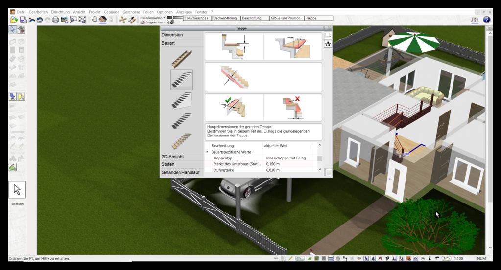 Balkon und Treppe virtuell planen