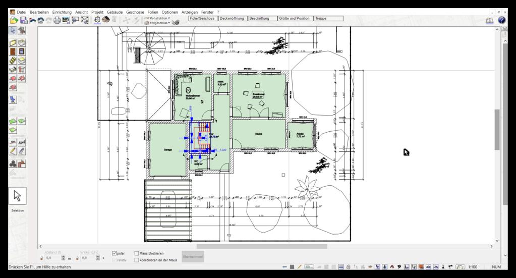 automatische Außenmaße im Bauplan