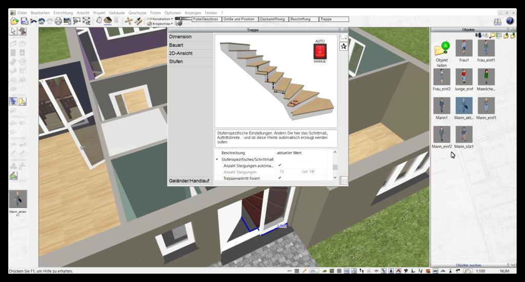 Treppe zeichnen mit 3D CAD Software